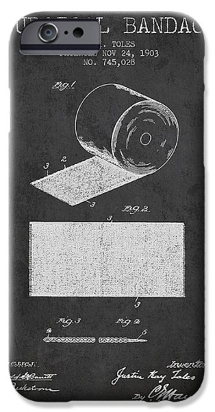 Surgical Bandage Patent From 1903- Charcoal IPhone Case by Aged Pixel