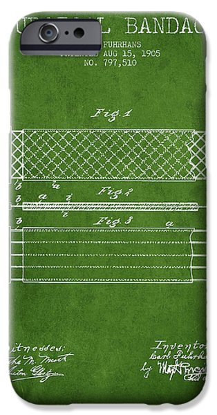 Surgical Bandage Patent From 1905- Green IPhone Case by Aged Pixel