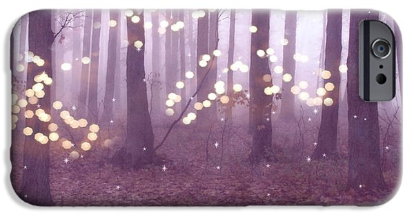 Surreal Dreamy Fairy Lights Ethereal Pink Lavender Woodlands Twinkling Lights Fantasy Nature  IPhone Case by Kathy Fornal