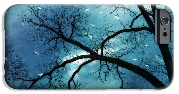 Surreal Fantasy Haunting Gothic Tree With Birds IPhone Case by Kathy Fornal
