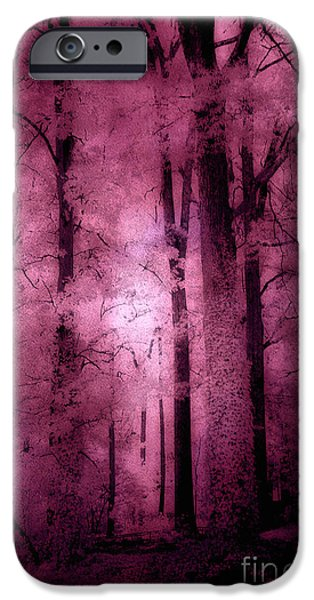 Surreal Fantasy Pink Forest Woodlands IPhone Case by Kathy Fornal