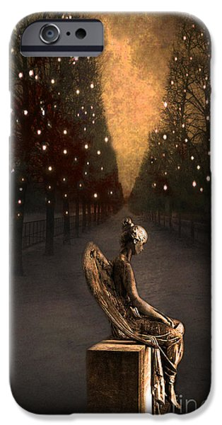 Surreal Gothic Haunting Emotive Angel Sitting On Bench   IPhone Case by Kathy Fornal