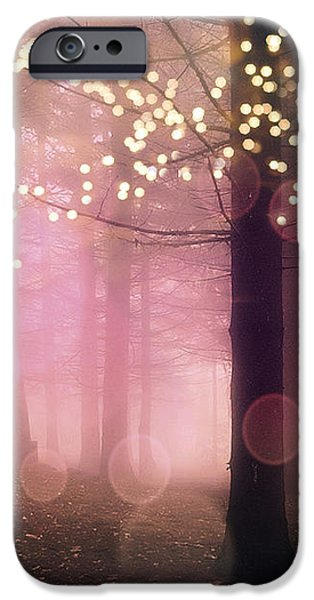 Surreal Pink Fantasy Fairy Lights Sparkling Nature Trees Woodlands - Pink Nature Sparkling Lights IPhone Case by Kathy Fornal