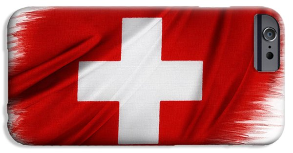 Swiss Flag IPhone Case by Les Cunliffe