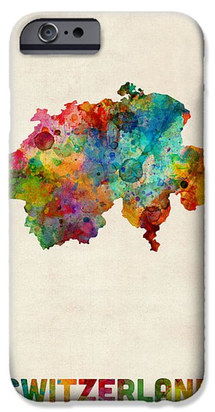 Switzerland Watercolor Map IPhone Case by Michael Tompsett
