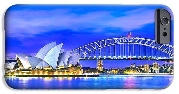 Sydney Harbour Blues Panorama IPhone Case by Az Jackson