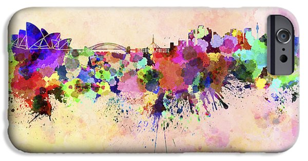 Sydney Skyline In Watercolor Background IPhone 6s Case by Pablo Romero