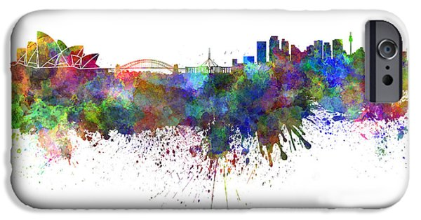 Sydney Skyline In Watercolor On White Background IPhone 6s Case by Pablo Romero