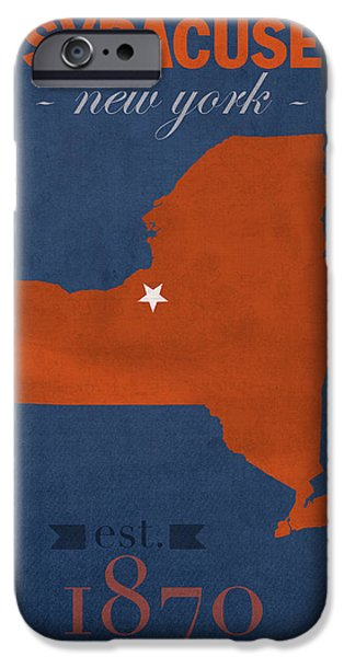 Syracuse University New York Orange College Town State Map Poster Series No 102 IPhone Case by Design Turnpike