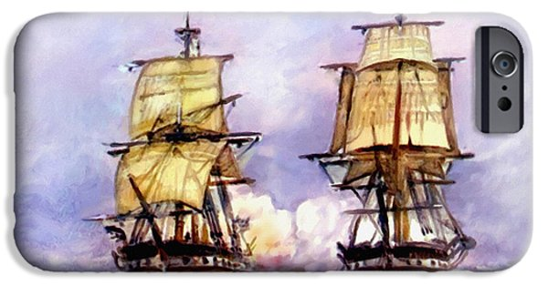 Tall Ships Uss Essex Captures Hms Alert  IPhone Case by Bob and Nadine Johnston