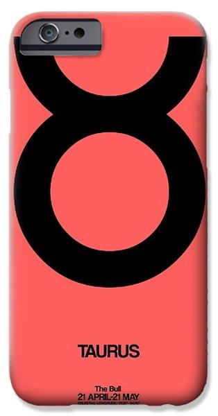 Taurus Zodiac Sign Black  IPhone Case by Naxart Studio