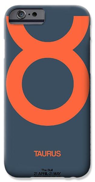 Taurus Zodiac Sign Orange IPhone Case by Naxart Studio