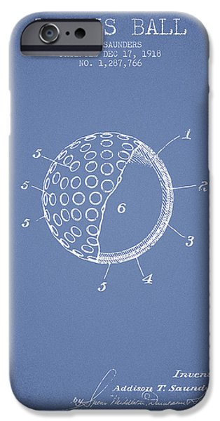 Tennis Ball Patent From 1918 - Light Blue IPhone Case by Aged Pixel