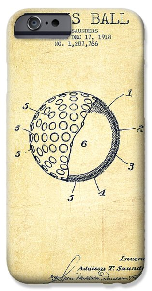 Tennis Ball Patent From 1918 - Vintage IPhone Case by Aged Pixel
