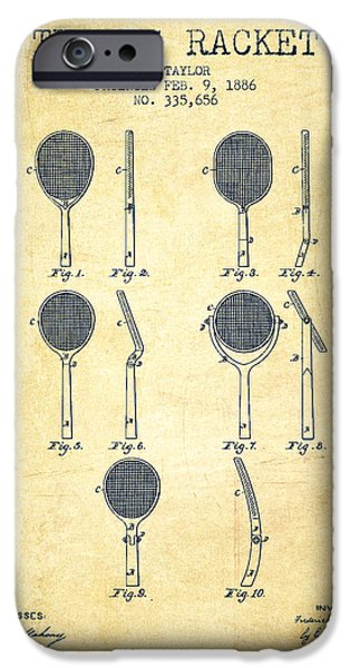 Tennis Racket Patent From 1886 - Vintage IPhone Case by Aged Pixel