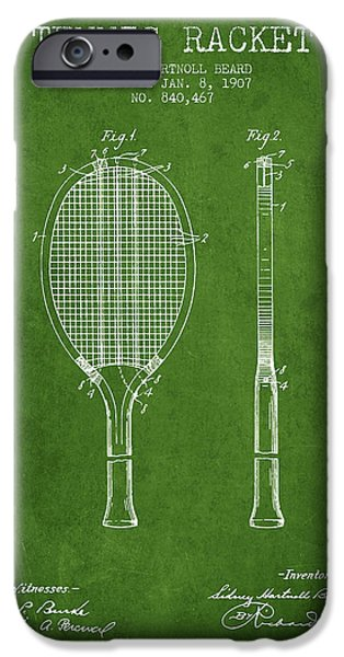 Tennis Racket Patent From 1907 - Green IPhone Case by Aged Pixel