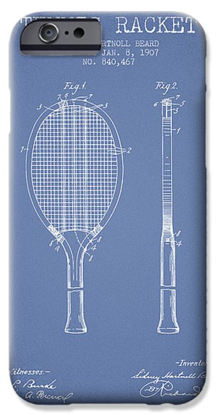Tennis Racket Patent From 1907 - Light Blue IPhone Case by Aged Pixel