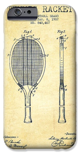 Tennis Racket Patent From 1907 - Vintage IPhone Case by Aged Pixel