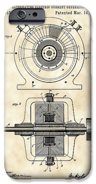 Tesla Alternating Electric Current Generator Patent 1891 - Vintage IPhone Case by Stephen Younts