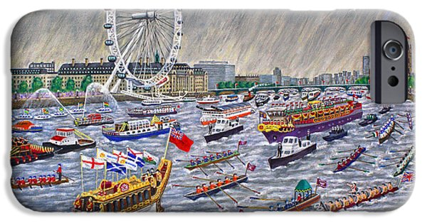 Thames Diamond Jubilee Pageant  IPhone Case by Ronald Haber