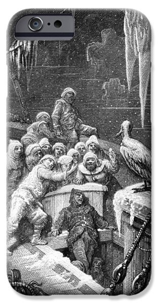 The Albatross Being Fed By The Sailors On The The Ship Marooned In The Frozen Seas Of Antartica IPhone 6s Case by Gustave Dore