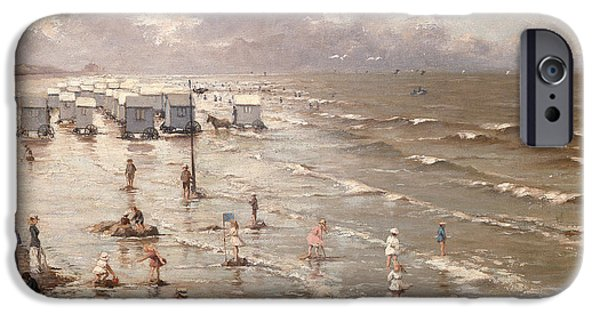 The Beach At Ostend IPhone Case by Adolphe Jacobs