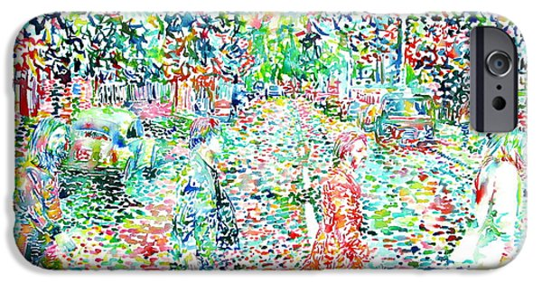 The Beatles Abbey Road Watercolor Painting IPhone Case by Fabrizio Cassetta