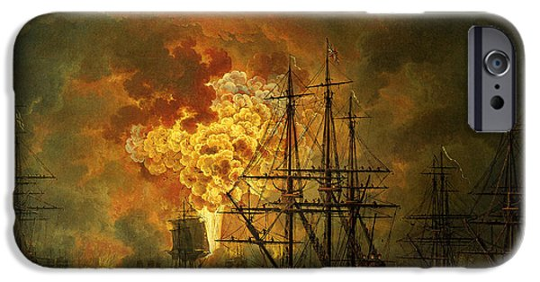 The Destruction Of The Turkish Fleet At The Bay Of Chesma IPhone Case by Jacob Philippe Hackert