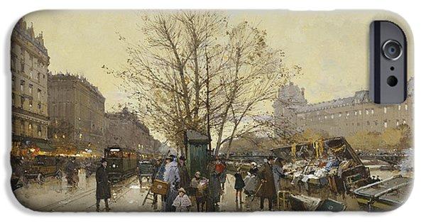 The Docks Of Paris Les Quais A Paris IPhone Case by Eugene Galien-Laloue