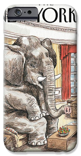 The Elephant In The Room IPhone Case by Ricardo Liniers