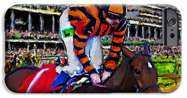 The Finish Line At Churchill Downs IPhone Case by Ted Azriel