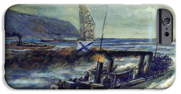 The German U-boat U 56 Sunk By The Russian Destroyer Grozovoi In The Barents Sea On The 20th IPhone Case by Mikhail Mikhailovich Semyonov