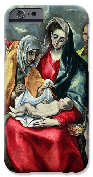 The Holy Family With St Elizabeth IPhone Case by El Greco Domenico Theotocopuli