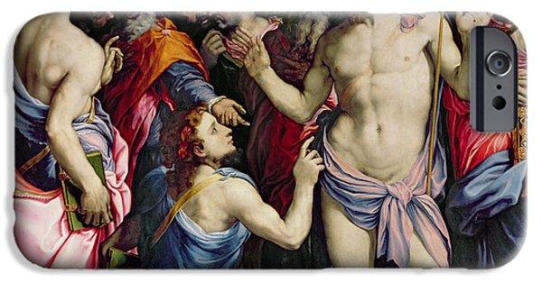 The Incredulity Of Saint Thomas IPhone Case by Francesco de Rossi Salviati Cecchino