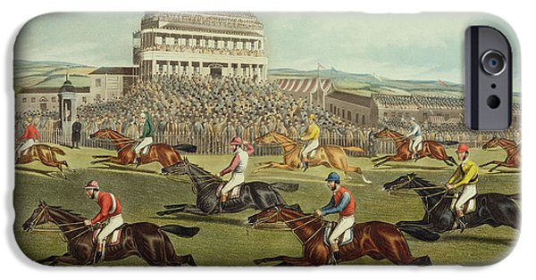 The Liverpool Grand National Steeplechase Coming In IPhone Case by Charles Hunt and Son