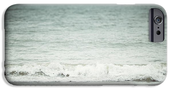 The Shore Beach Landscape Photography In Soft Pastel Blues IPhone Case by Lisa Russo