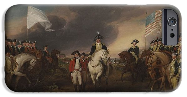 The Surrender Of Lord Cornwallis At Yorktown, October 19, 1781, 1787-c.1828 Oil On Canvas IPhone Case by John Trumbull