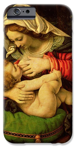 The Virgin Of The Green Cushion IPhone Case by Andrea Solario