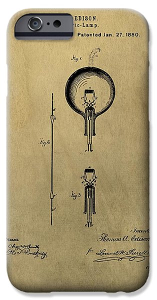 Thomas Edison's Electric Lamp Patent Illustration IPhone Case by Dan Sproul