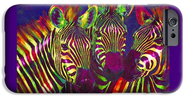 Three Rainbow Zebras IPhone 6s Case by Jane Schnetlage
