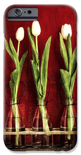 Three White Tulips Floral IPhone Case by Edward Fielding