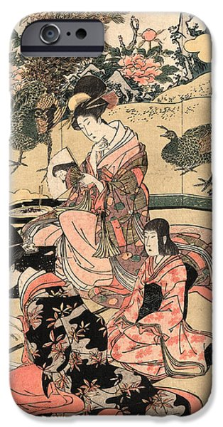 Three Women Sitting In A Room With Elaborate Wall Painting Of Peacocks IPhone Case by Utagawa Toyohiro