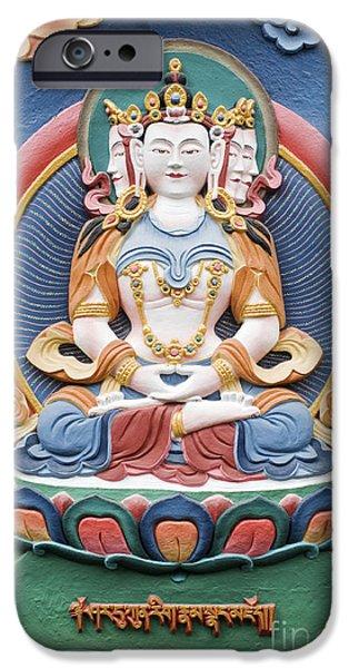 Tibetan Buddhist Temple Deity Sculpture IPhone Case by Tim Gainey