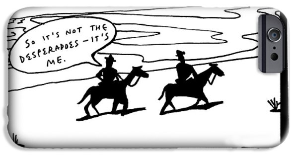 Title: Cowboys On A Journey Within. Two Darkened IPhone Case by Bruce Eric Kaplan