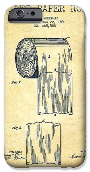 Toilet Paper Roll Patent Drawing From 1891 - Vintage IPhone Case by Aged Pixel