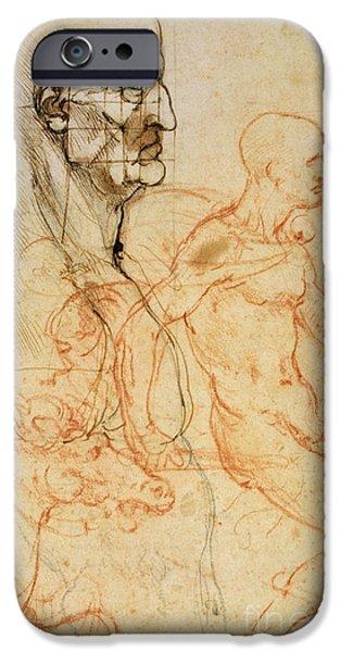 Torso Of A Man In Profile IPhone Case by Leonardo da Vinci