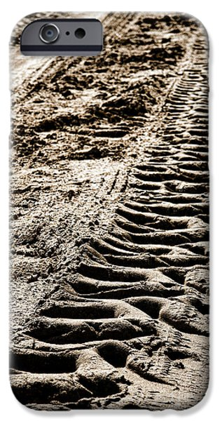 Tractor Tracks In Dry Mud IPhone Case by Olivier Le Queinec