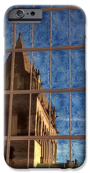 Trinity Church Reflection On The Hancock IPhone Case by Joann Vitali