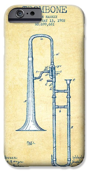 Trombone Patent From 1902 - Vintage Paper IPhone 6s Case by Aged Pixel