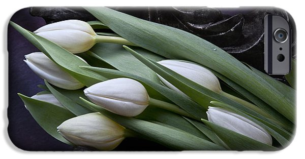 Tulips Laying In Wait IPhone Case by Tom Mc Nemar
